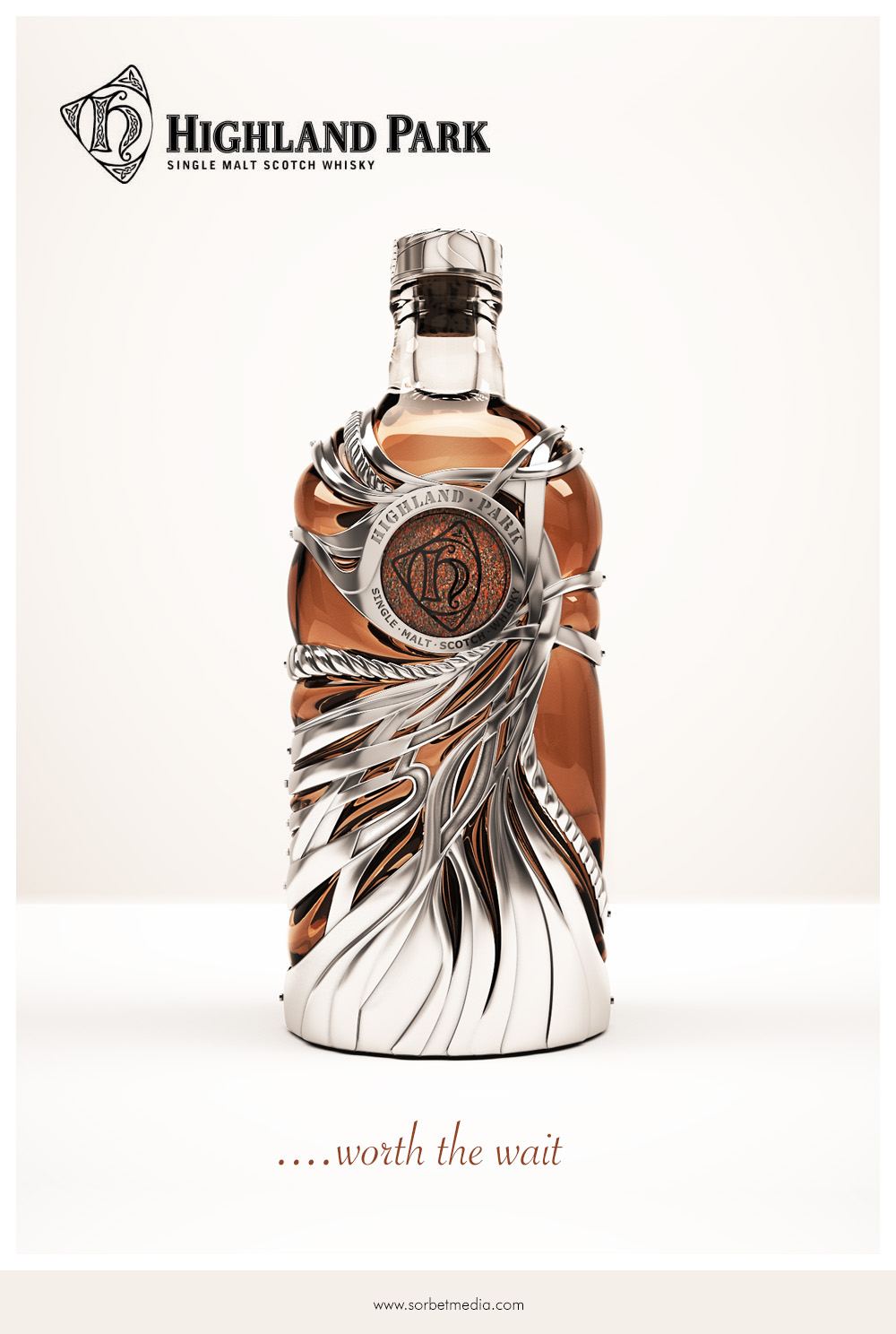 Highland Park 50 Year Old Whiskey - 3D Marketing Visual