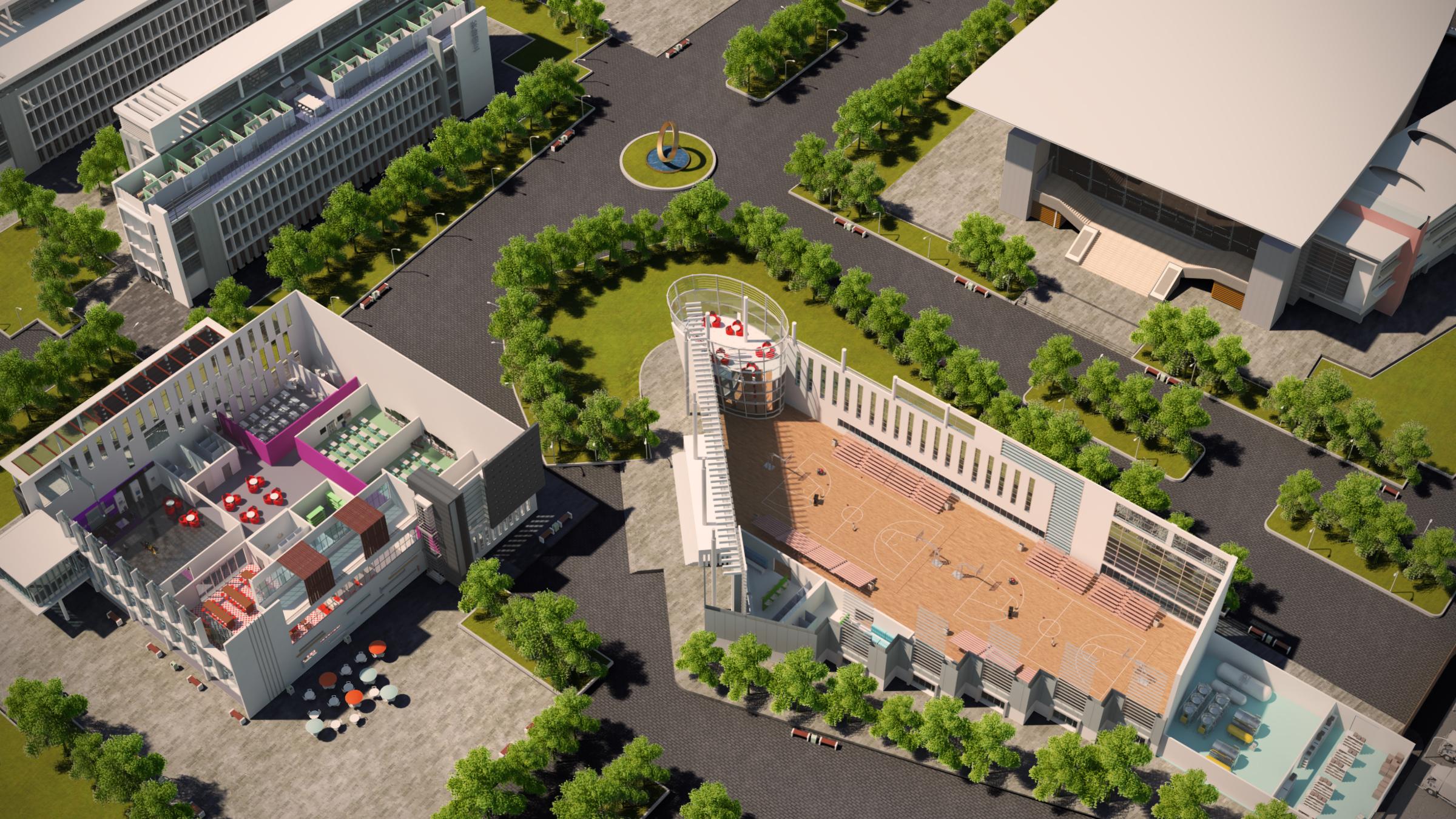 University Campus 3D Aerial View