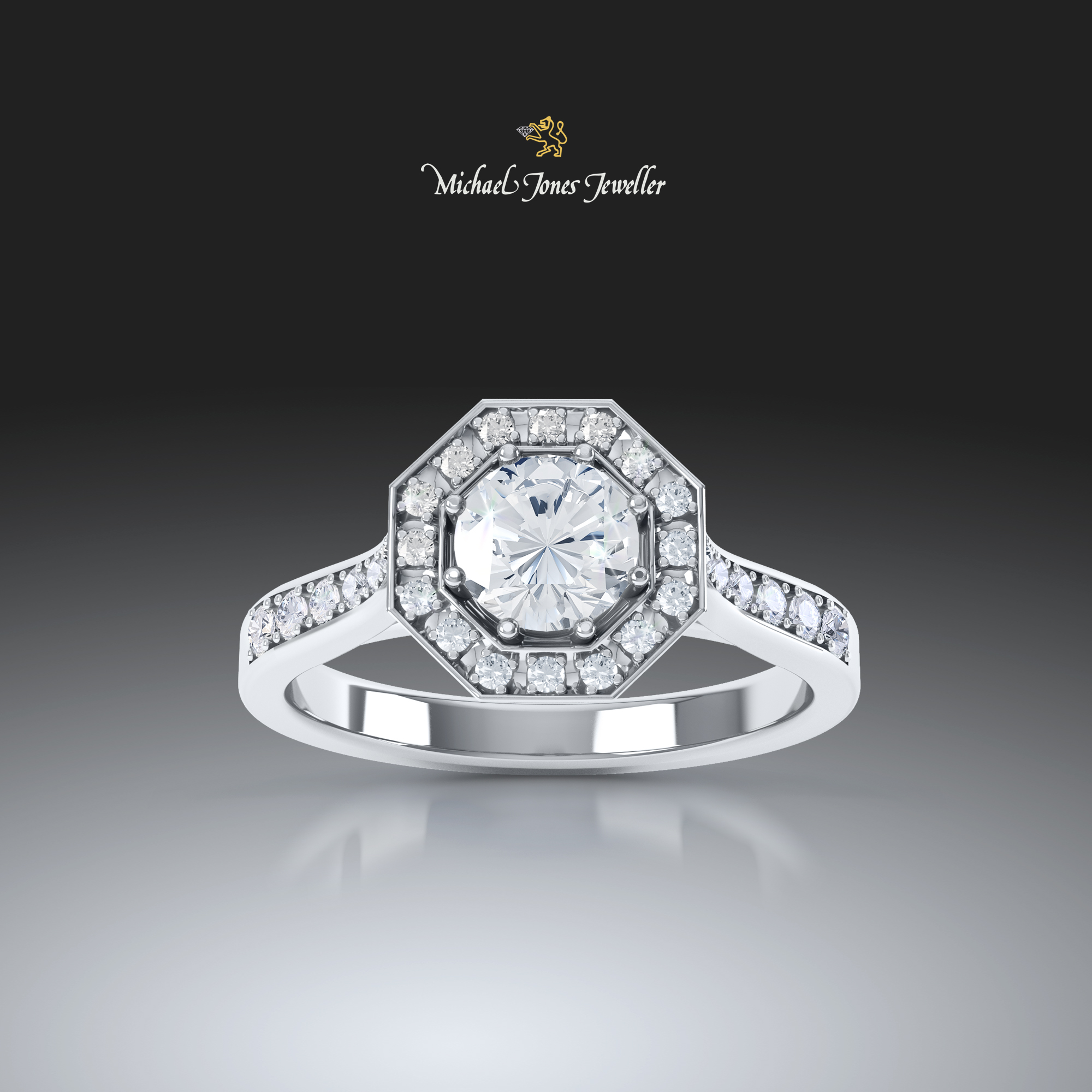 Halo diamond ring in 3D - Michael jones jewellers