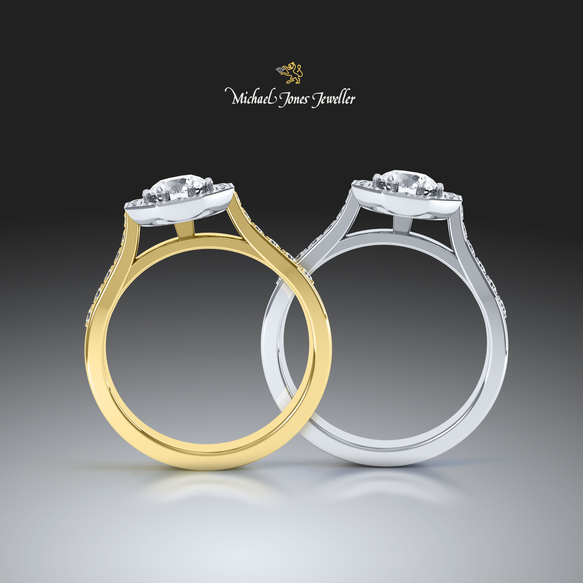 Yellow & White gold ring set in 3D - Diamond Jewellery