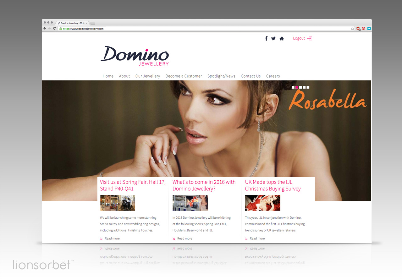 domino jewellery manufacturer website design