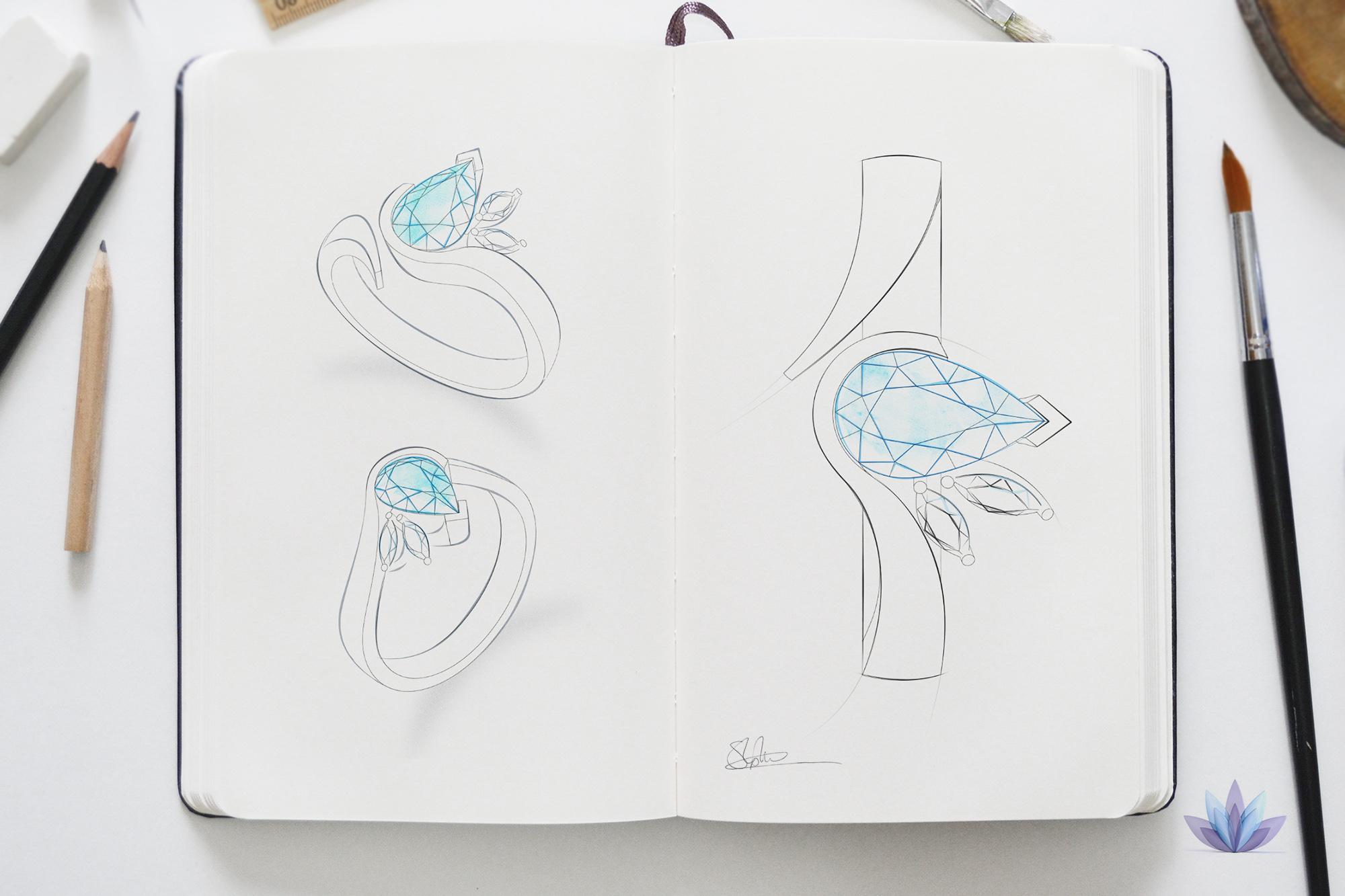 bespoke pear shape ring design