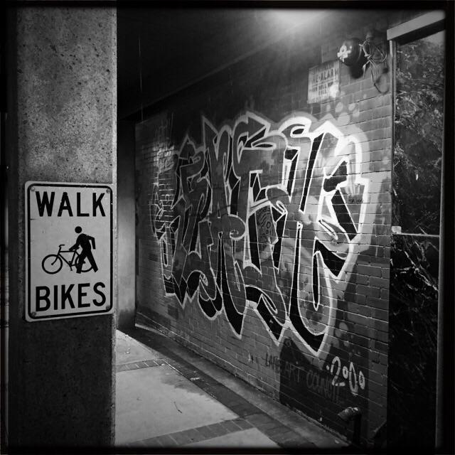 Walk Bikes and graffiti