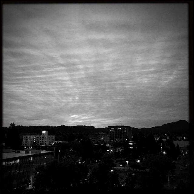 Sunrise over downtown Eugene