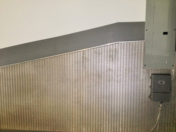 Photo of wire cloth garage paneling.