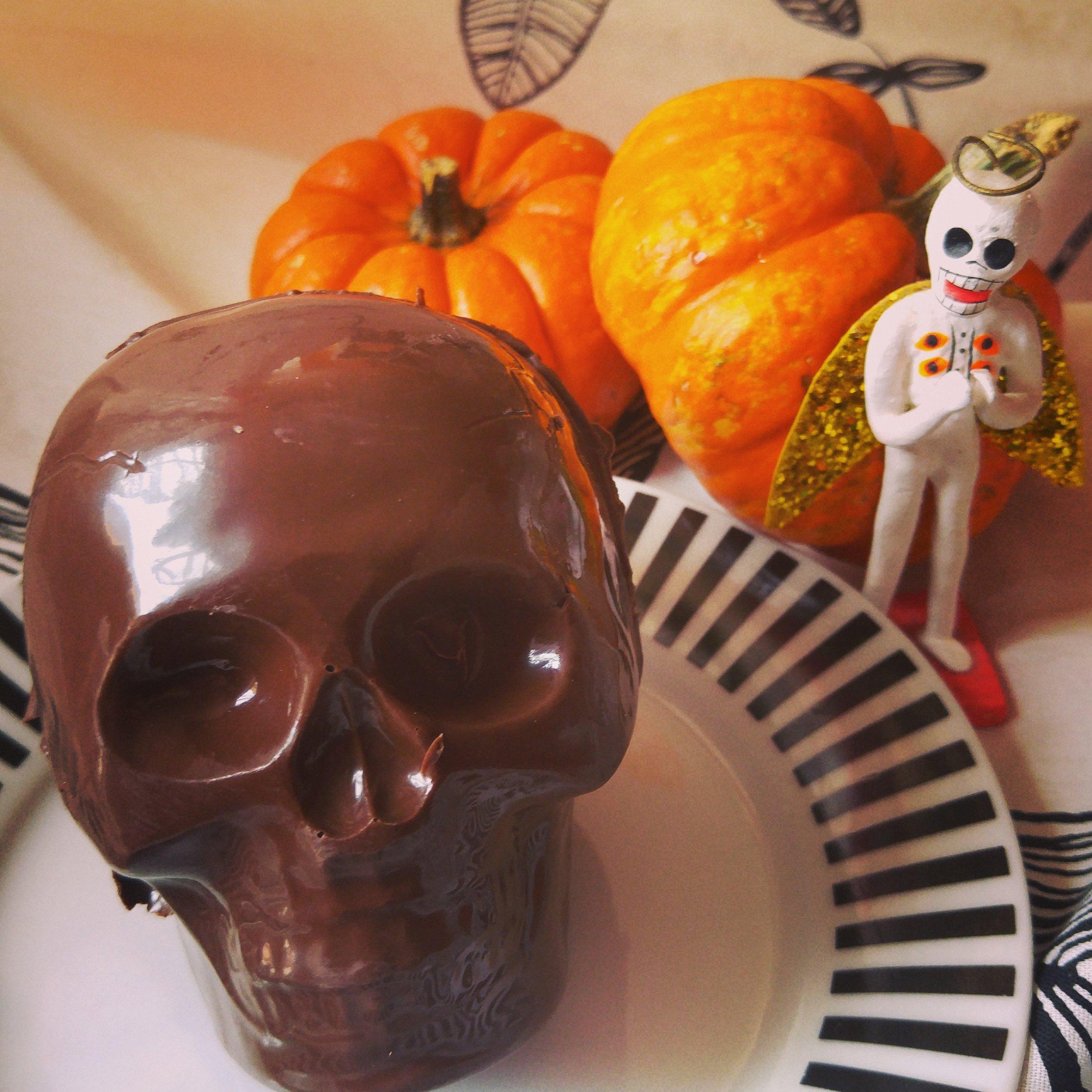 3D Chocolate Skulls filled with Pumpkin Stout Marshmallow