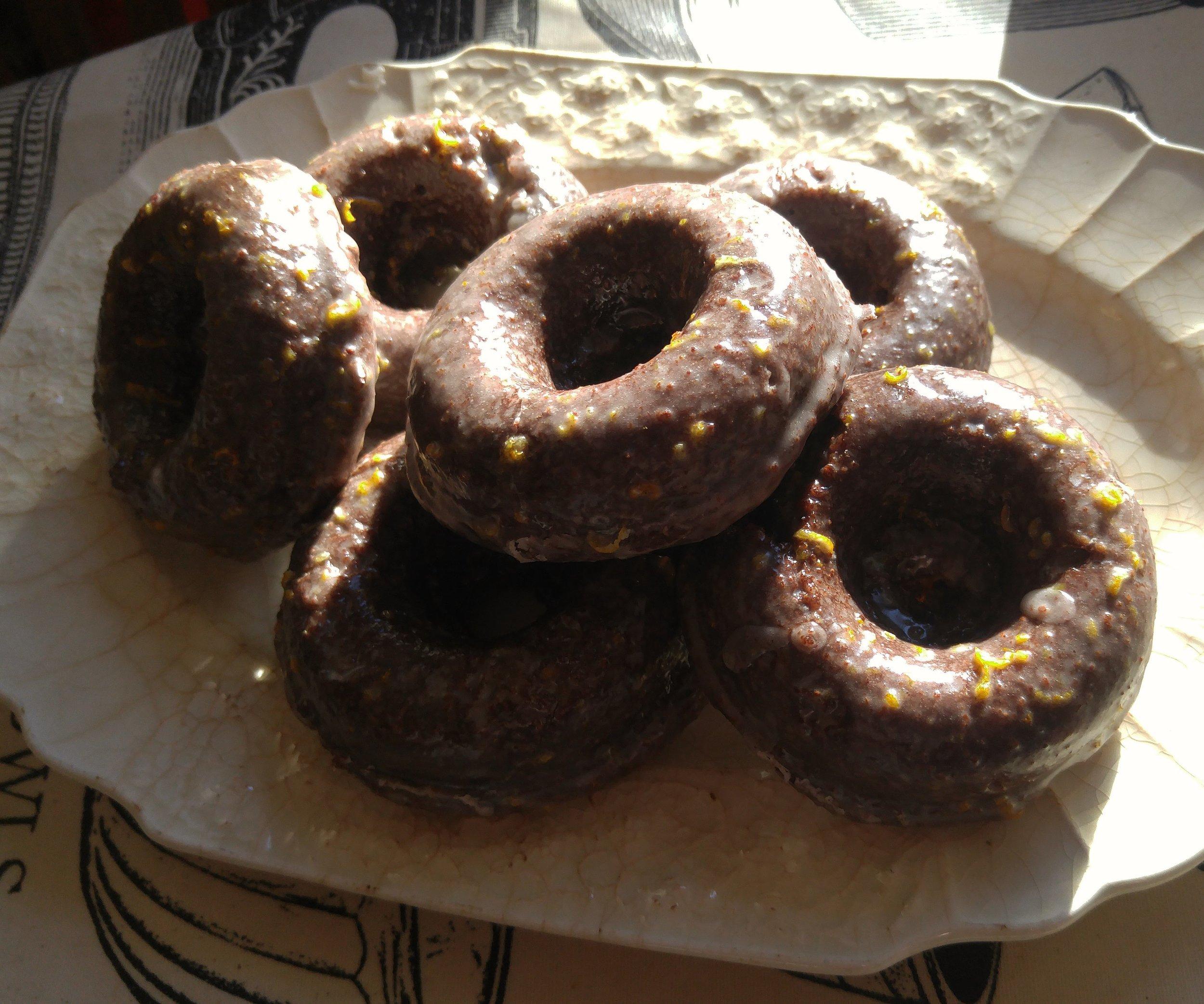 Beet & Chocolate baked doughnuts with Sumac & Citrus glaze