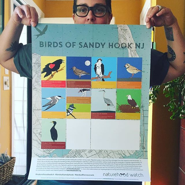 Doncha want one?! We even left some room for your bird drawings! Come to the @monmoutharts #zwaf this weekend for art+outdoors=fun! check out the @naturehoodwatch table and take a drawing walk and talk with us...and get our poster celebrating birds of Sandy Hook!