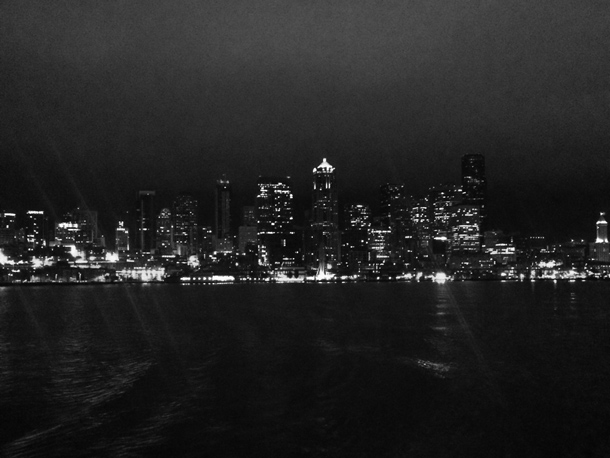 The view from the ferry to Bainbridge Island at night.