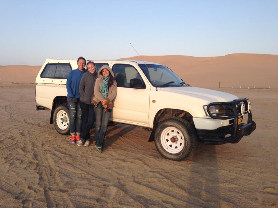 The girls and Squirtle (our truck) in Swakopmund