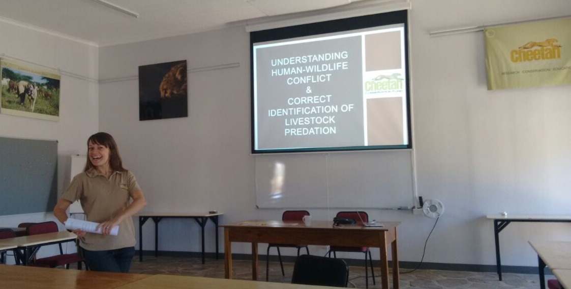 Giving my last human-wildlife conflict lecture at CCF