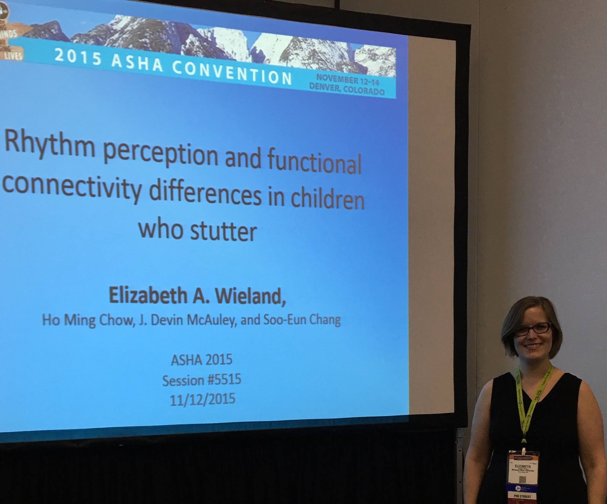 Liz Wieland, doctoral student and awardee of the prestigious New Century Scholars doctoral scholarship from the ASHFoundation this year, presented an excellent technical talk at ASHA.