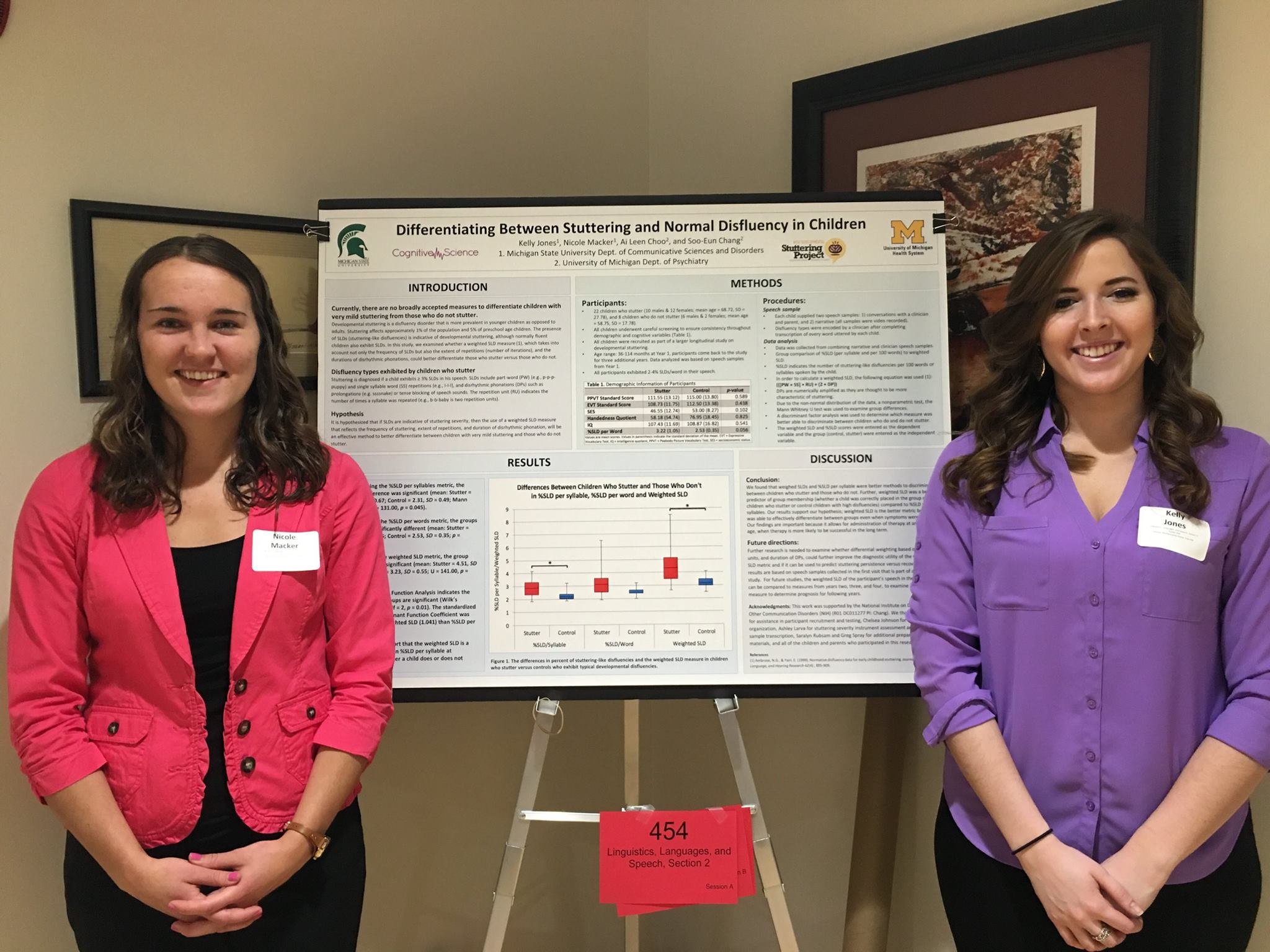"MSU undergraduate students Kelly Jones and Nicole Macker presented their poster titled ""Differentiating between stuttering and normal disfluency in children"" at the University Undergraduate Research and Arts Forum (UURAF) poster session. 4/2016"