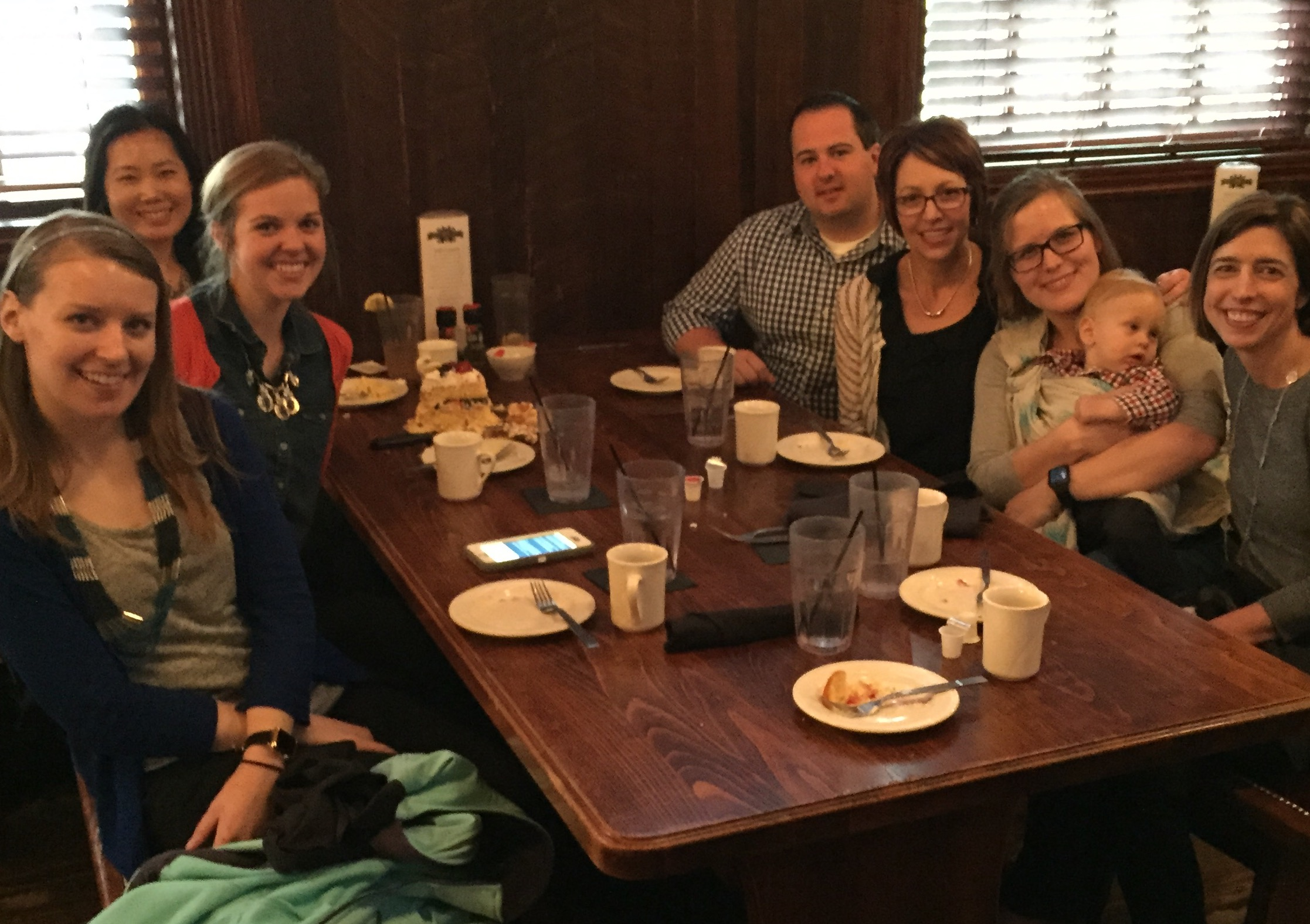 SNL- MSU campus end of semester lab lunch at Dublin Square. Right after devouring delicious cake to celebrate April birthdays (Kelly, Saralyn, Chelsea)!