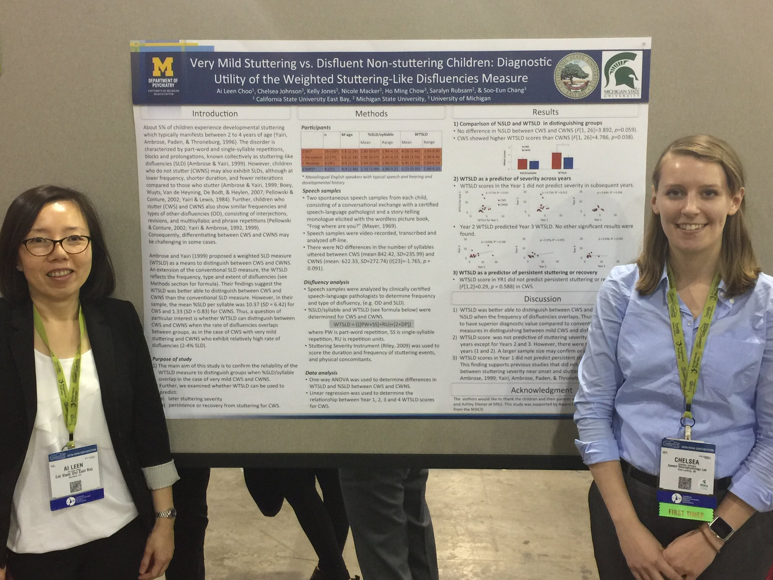 Ai Leen Choo (together with Chelsea Johnson) presenting a poster at ASHA 2016