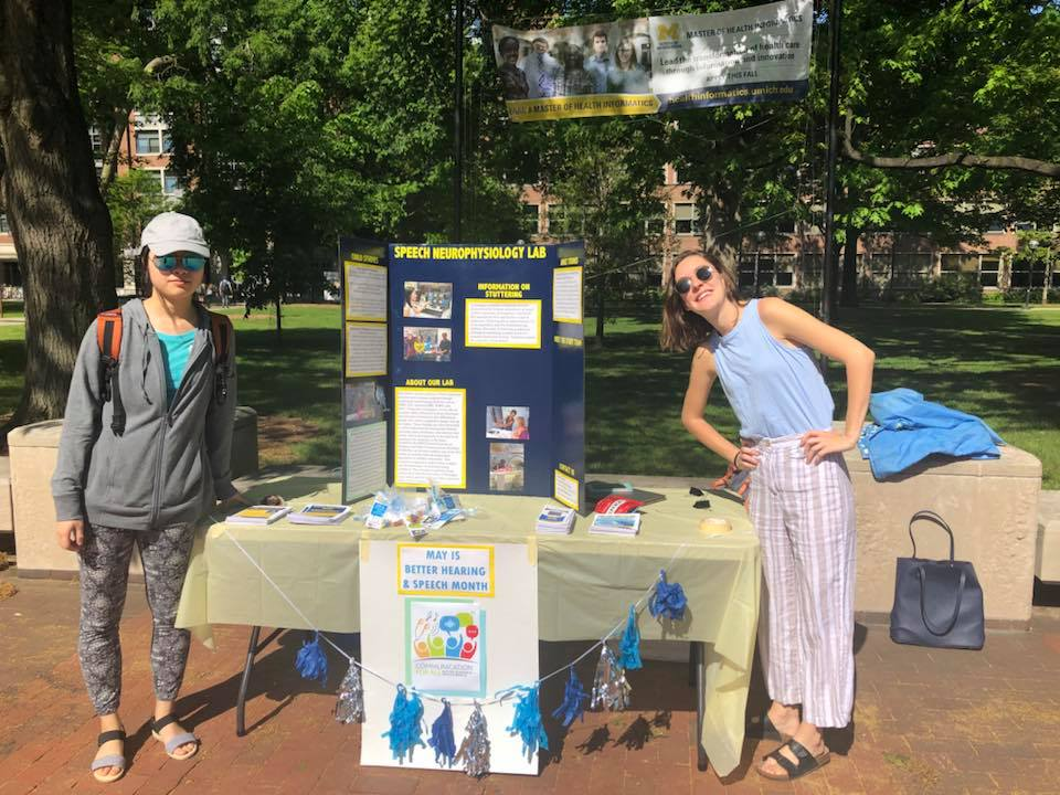 U of M lab members raising awareness for Better Hearing and Speech Month on campus