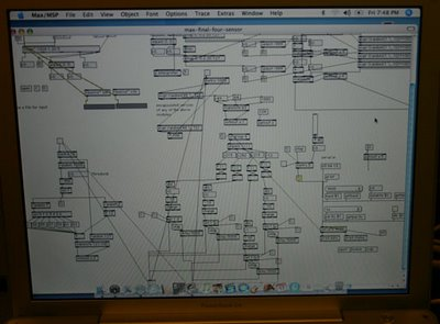 Max / MSP patch: The musical algorithm we wrote to simulate sound of nature