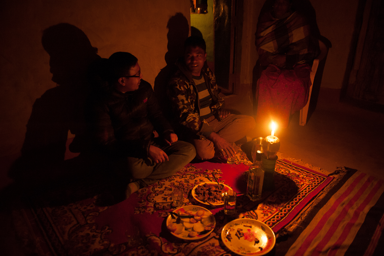 Traditional Nepali dining is done sitting on the floor. There is generally rice, lentils, radishes and onions, and sometimes meat. Flavors are spicy and complex, and food is eaten without utensils.