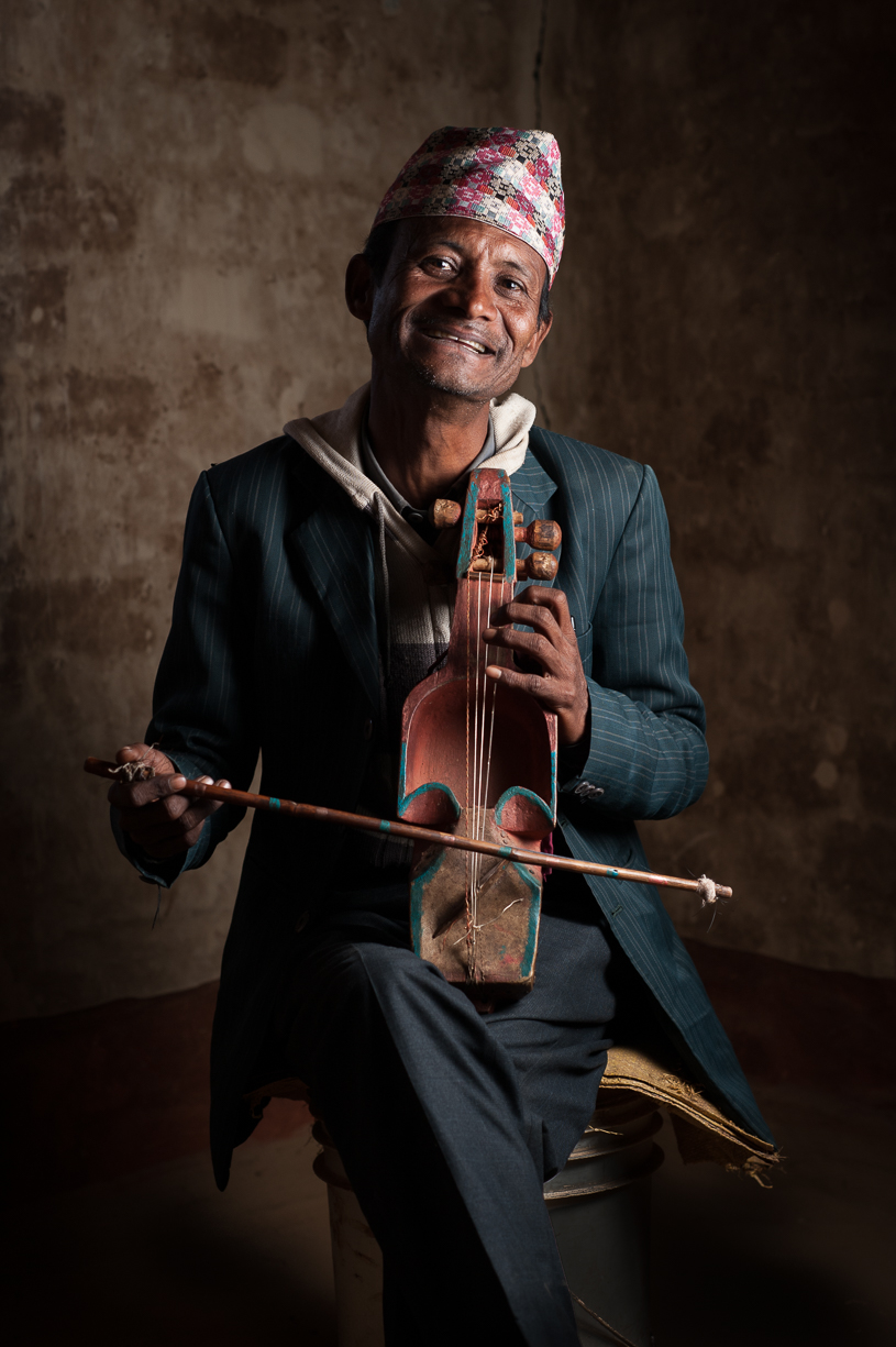 This is one of the patriarchs of the community. He is a skilled sarangi player and is adept at improvising songs and chants to communicate news and tell stories tailored to his audience.