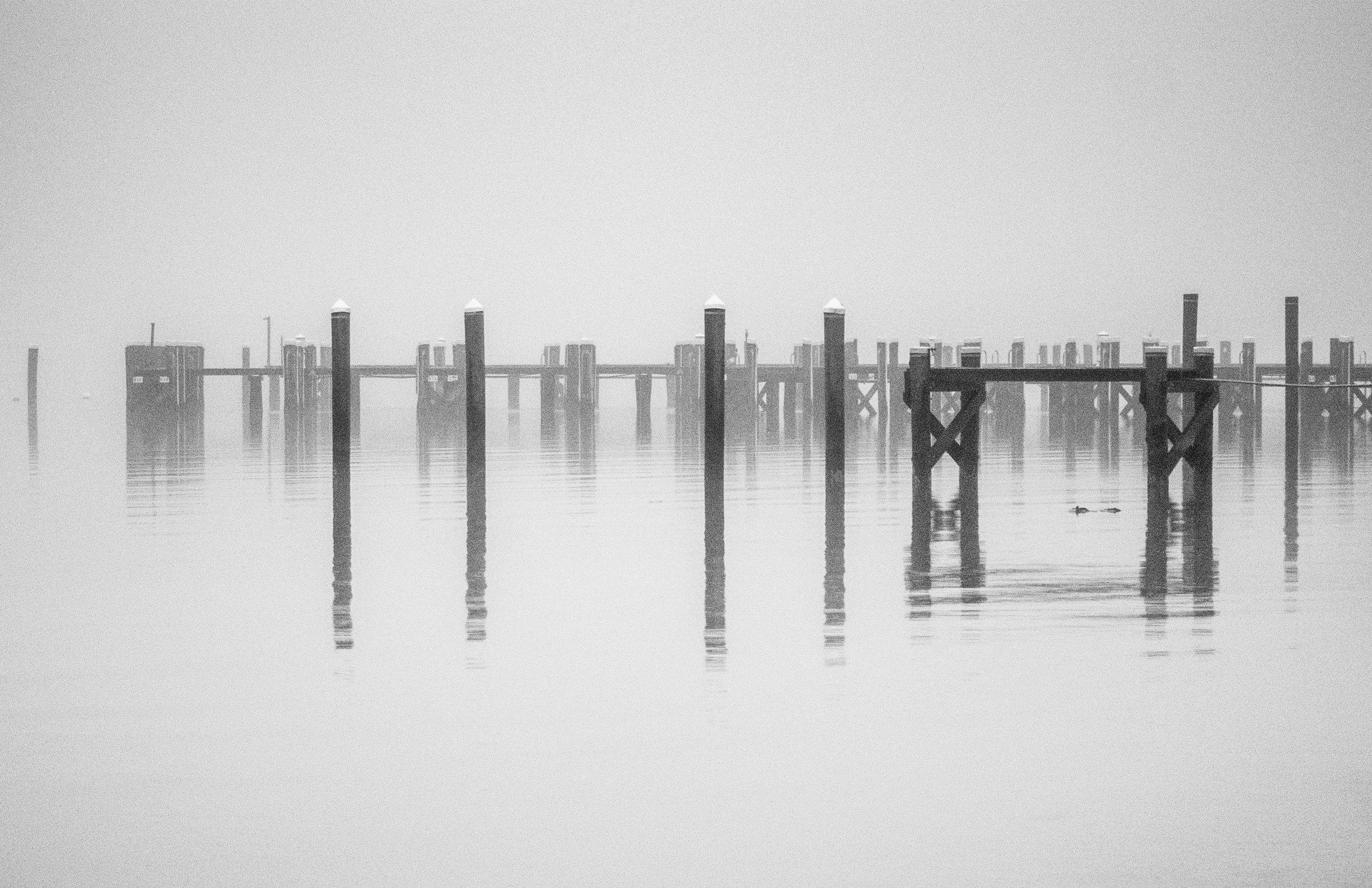 Docks in mist