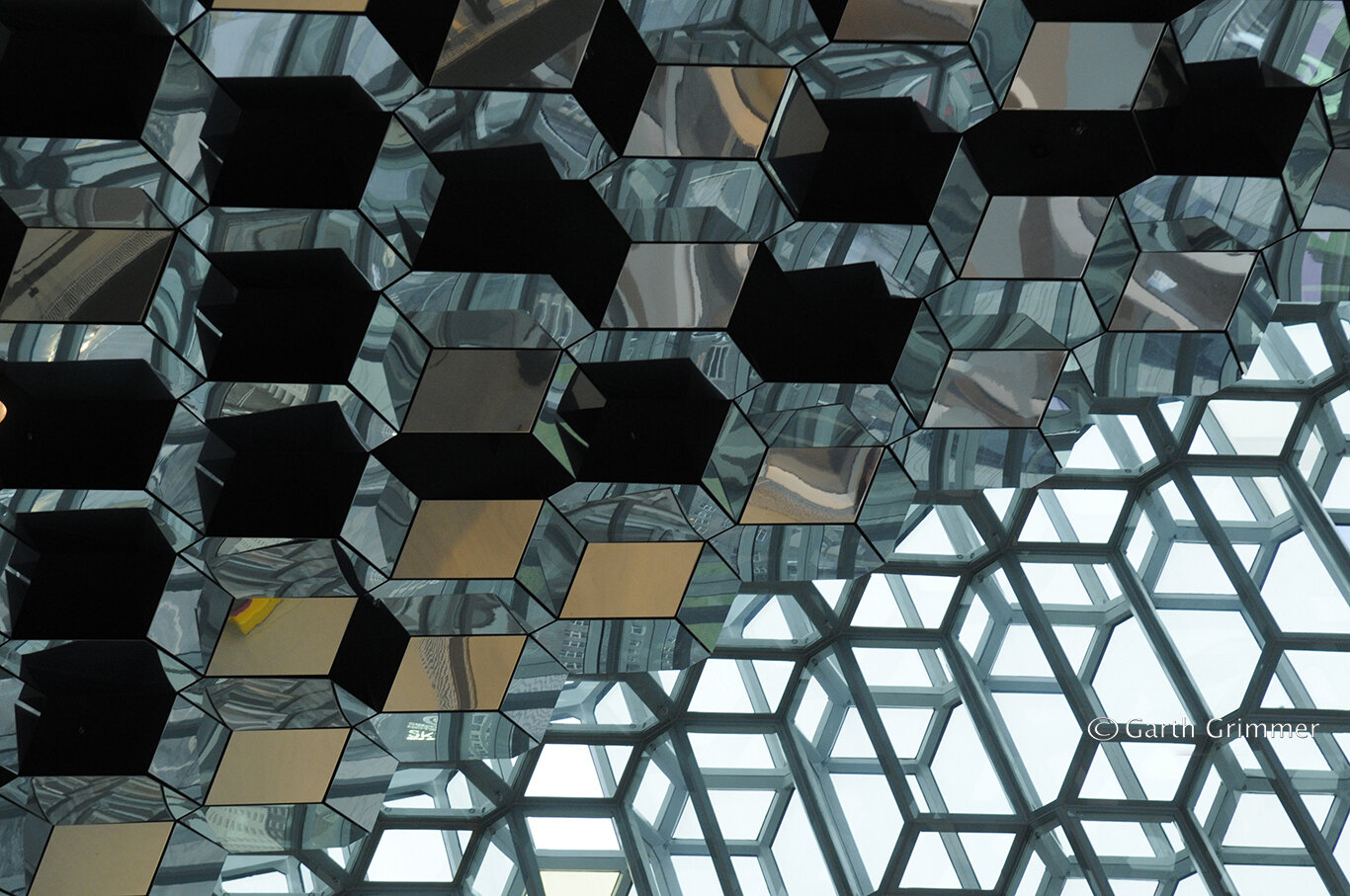 Harpa glass wall and ceiling,  Iceland