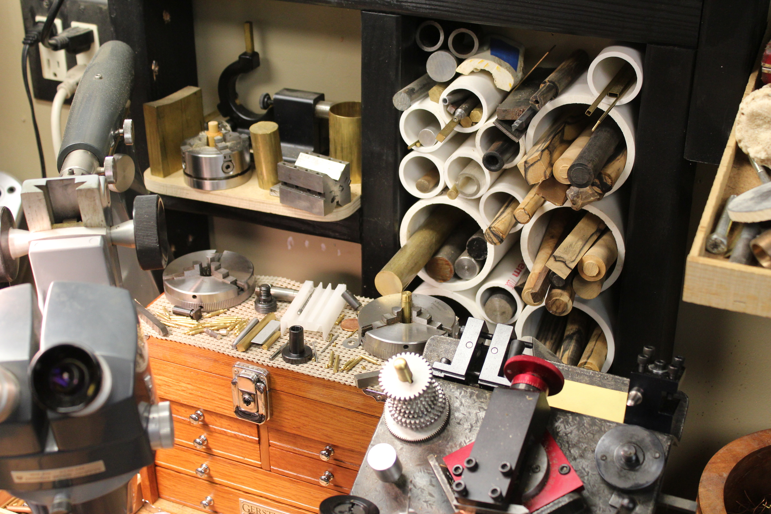 Some of the tools and materials that hang out around the lathe.