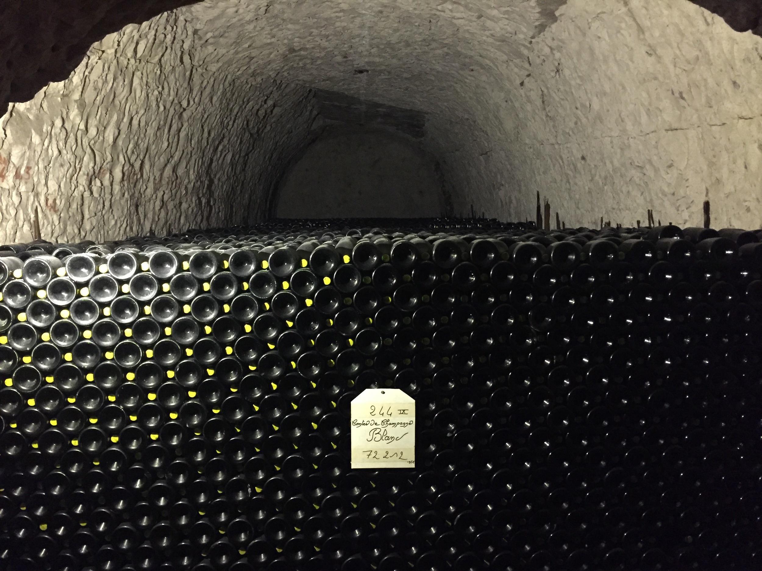 Taittinger champagne bottles aging