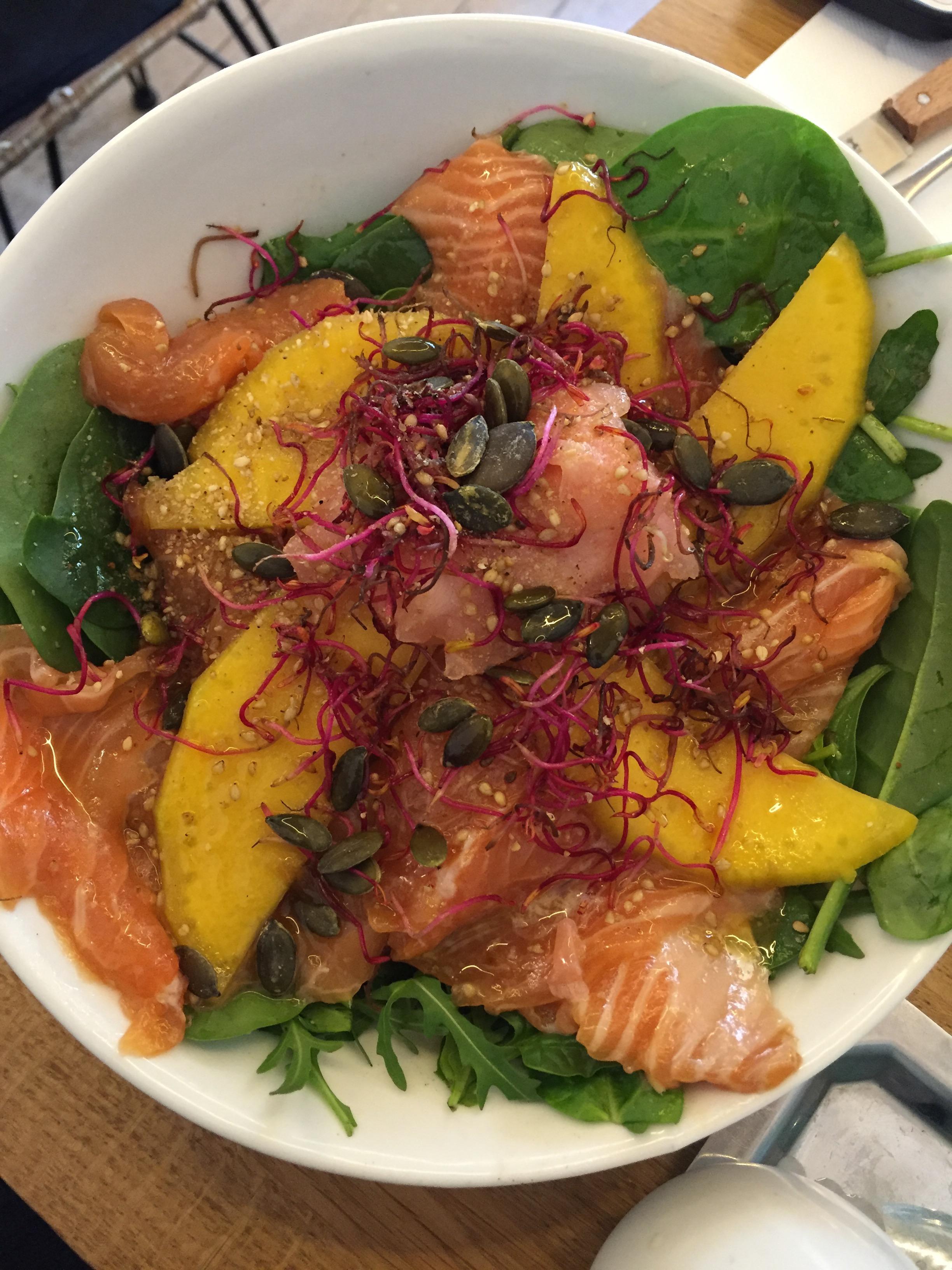 Smoked salmon salad and fresh greens