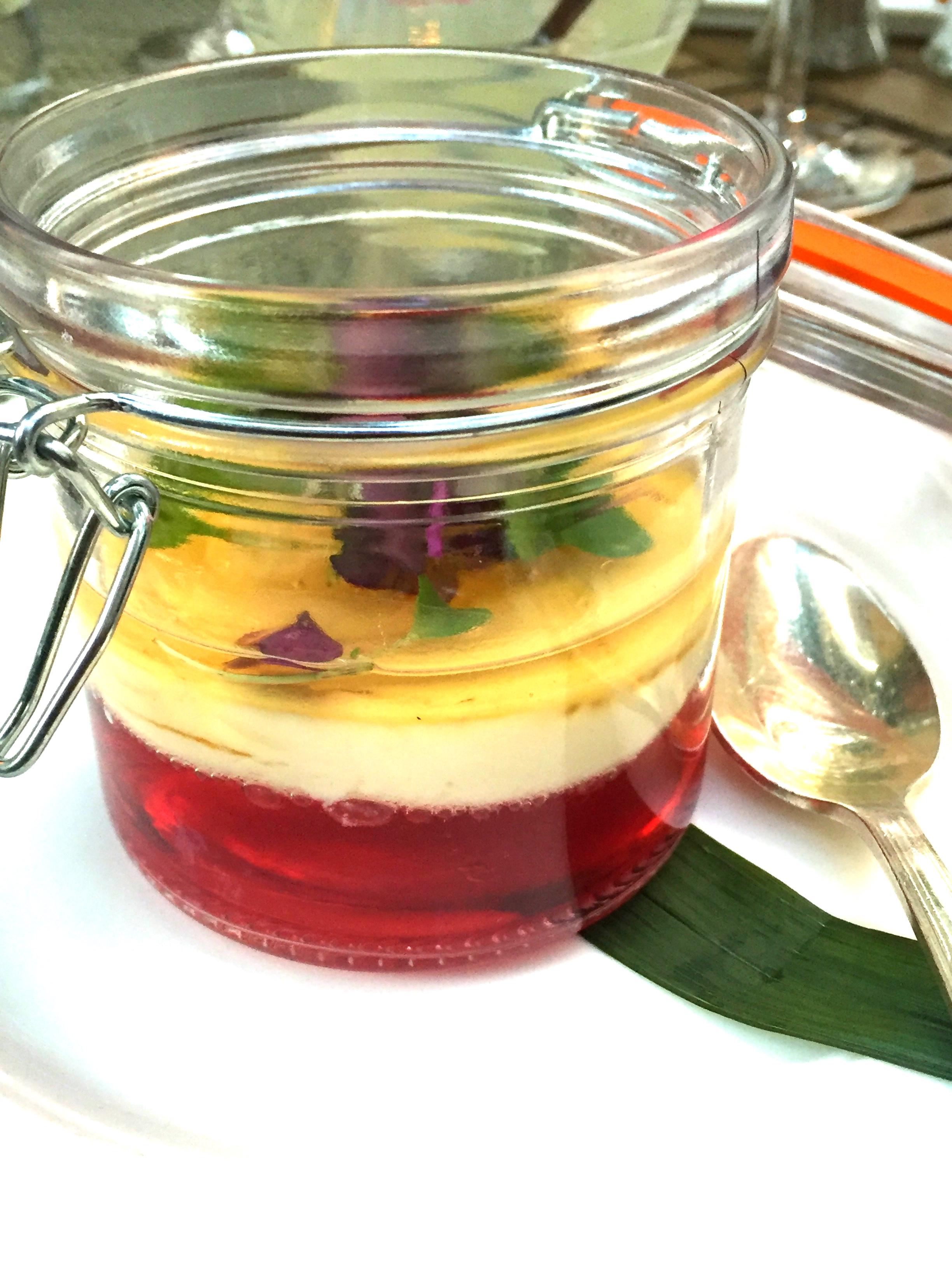 Goat Cheese & Cauliflower Panna Cotta Cranberry Gelée, with Wild Flower Honey
