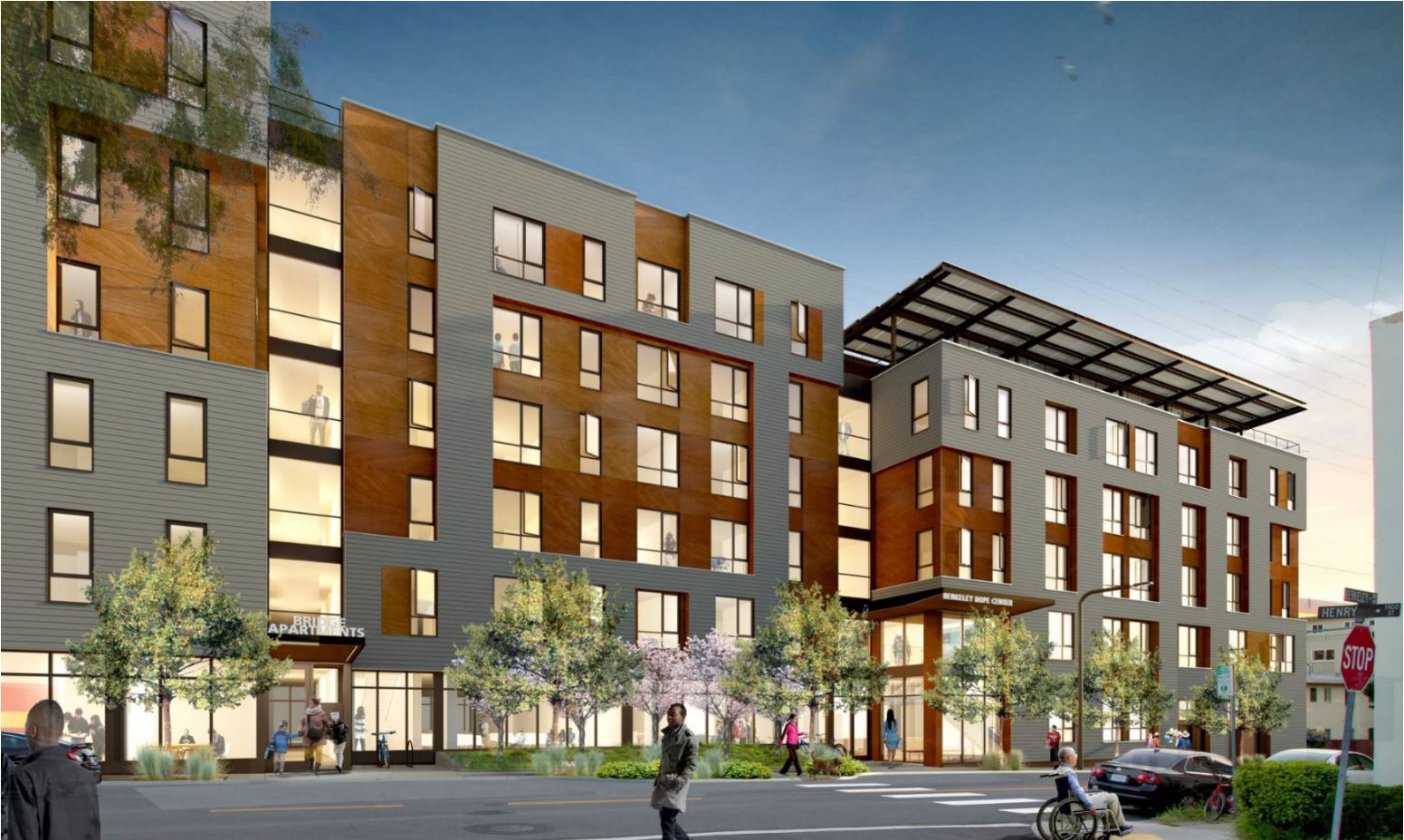 2012 Berkeley Way , Downtown Berkeley 142 units at 50%-60% AMI  44 beds (32 for transitional homeless and 12 for veterans) Client: BRIDGE Housing and Berkeley Food and Housing Project  San Francisco Business Times - SB 35 Project Approved