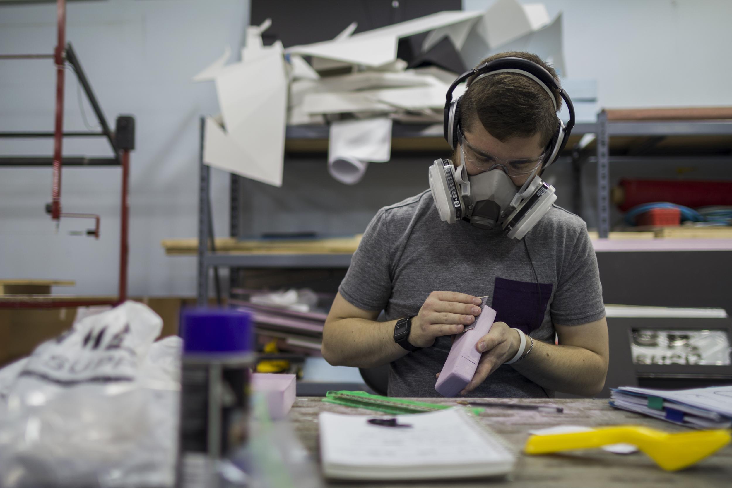 Designer Colin Beney Creating A Sketch Model.