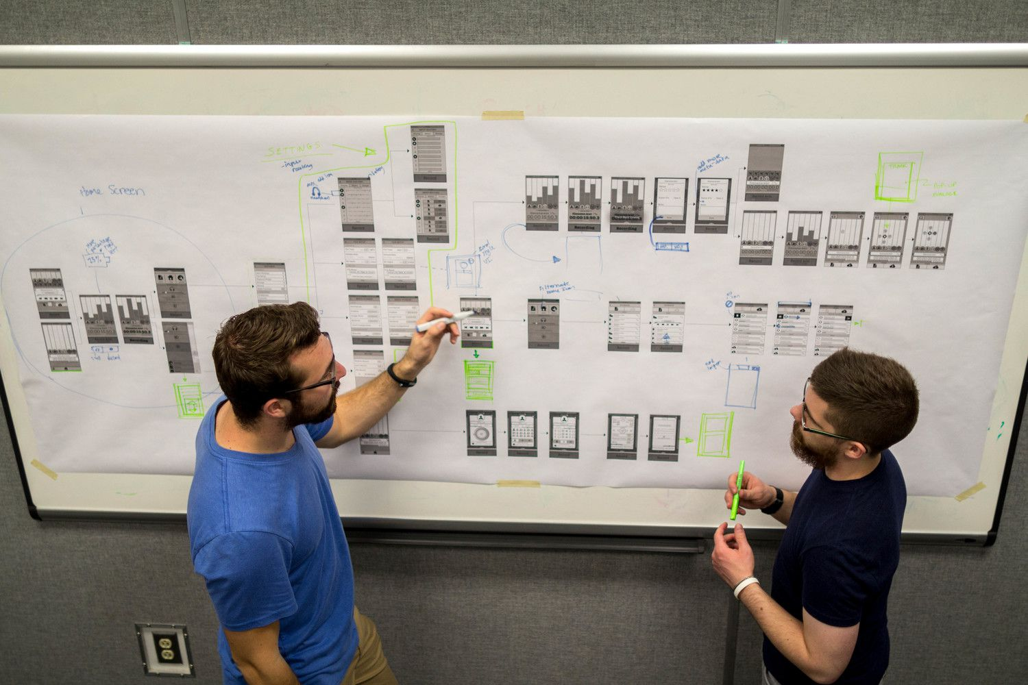 Designers Beney & Brownhill critiquing the wireframe flow based on user feedback.