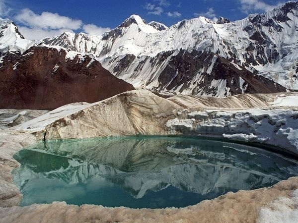 There are more than 3700 mountain lakes in Kyrgyzstan. This one is near Khan Tengri peak. Photo by Denis Walberg from  Trip to Kyrgyzstan