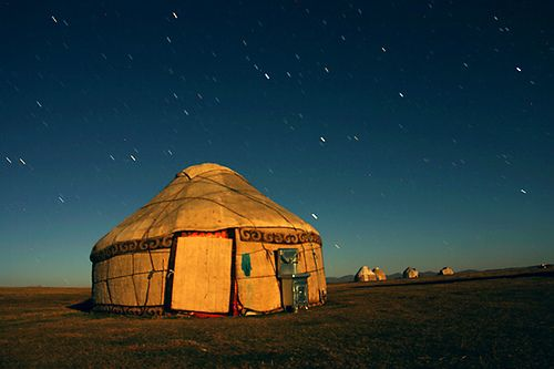 Yurt is a traditional house of Central Asian nomads. It can take only 2 hours to assemble it. Photo by  Dave Rawlinson