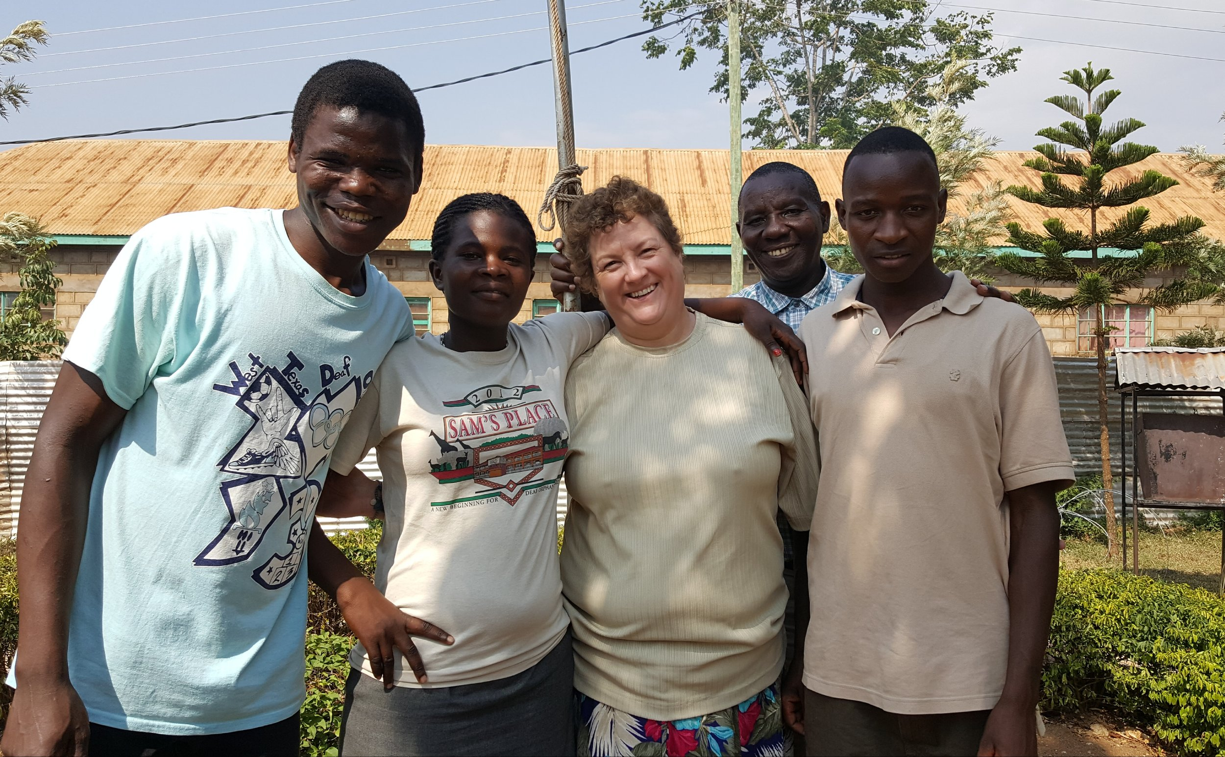 Dawn and Simeon with three Sam's Place students now attending technical school. (Dickson, Irene, Dawn, Simeon, Elphas)