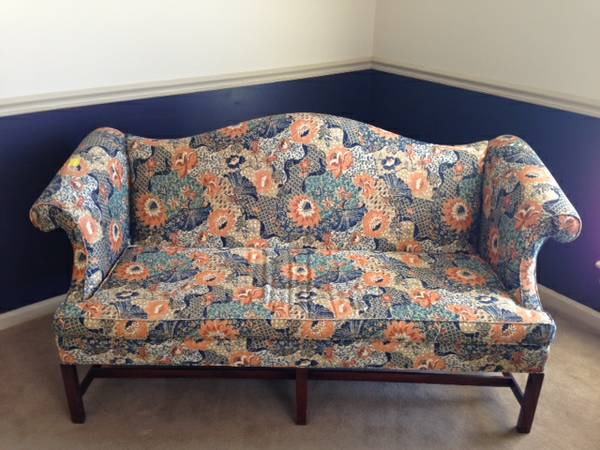 Small Floral Couch $150  -  Can't quite tell from the photo but appears to be in good shape with a pretty cool fabric. Don't write off a couch immediately because of a crazy pattern.  Click here  to see a great post on  My Interior Life  about decorating with patterned sofas.