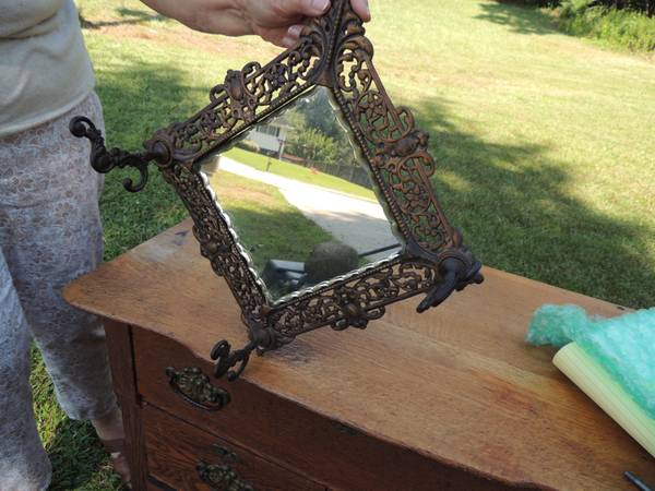 Vintage Mirror with Hat Hooks $65