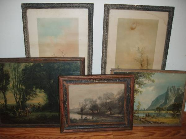 Set of 5 Antique Framed Prints $100  - Think these could be great pieces for an art wall similar  to this one on the Little Green Notebook. .