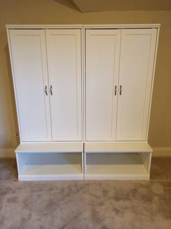 Pottery Barn White Cameron Cabinet Hutch $400