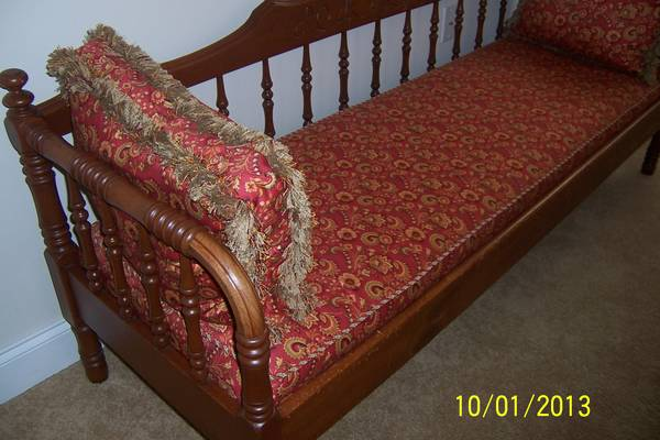 Antique Sofa/Bench $285  - This would be so pretty painted white or black with new cushions. The nice thing about this piece is it isn't a huge reupholstering job. This has a lot of potential.