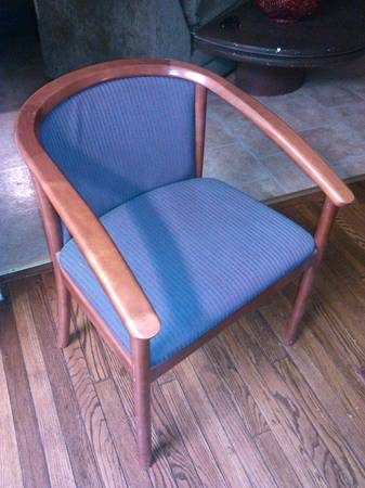 Barrelback Chair $15  - With a coat a paint and some new fabric this $15 chair could be so cute!