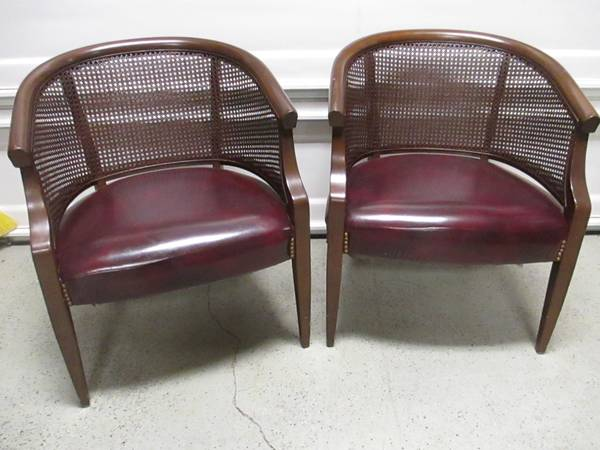 Cane Back and Leather Chairs $125 pair - I posted another set of cane back chairs earlier this week, in case you missed it here's a  great tutorial  on how to redo these.