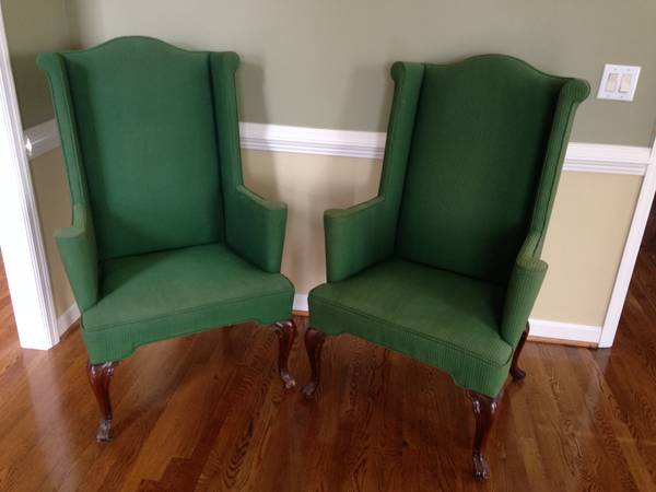 Queen Anne Chairs $50 pair  - Can't tell the fabric condition but love the color, would be a good pair to reupholster too.