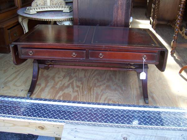 Antique Leather Top Coffee Table $95