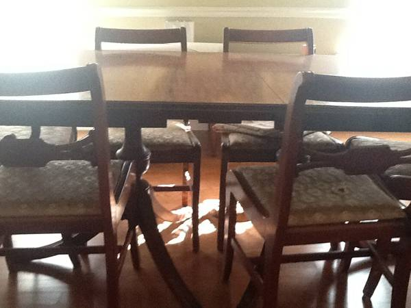 Dining Set with 6 Chairs $80  - This is a great deal, not sure the condition but would look great painted with new fabric, and for $80 you can't go wrong. Dining chairs like these and the others I posted today are fairly easy to reupholster. Here's a great tutorial on  Red Door Home . On her blog she replaces the padding too but on some of these chairs you might just have to go over with new fabric and can use the existing padding.