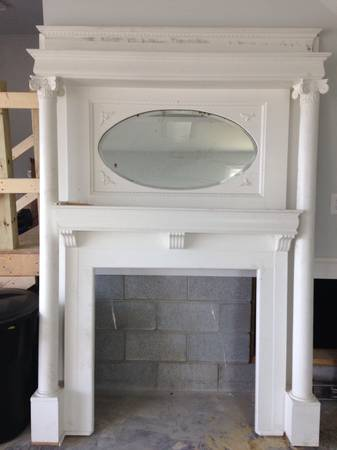 Antique White Mantle with Original Bevel Mirror $500