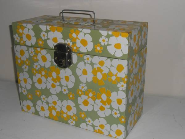 Vintage Metal File Box $10  - This would be a fun pop of color in an office.