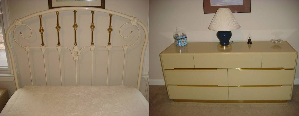 Bedroom Suite $375  - Includes full size iron headboard with dresser and nightstand. Although I don't love these pieces together I think they are great pieces separately. Remember you can always use a full headboard with a queen mattress. This dresser, when styled properly could be a great mid century or modern piece in a bedroom or as a media cabinet. These pieces have a lot of potential and the seller will sell them separately.