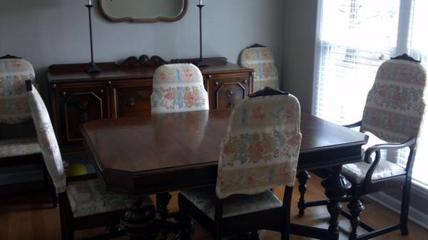 Antique Dining Room Suite $650  - This set includes the table with 6 chairs and the buffet/sideboard.