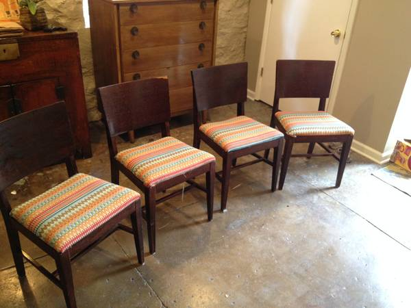 Set of 4 Mid Century Chairs $75  _ These would be easy to recover the seats.